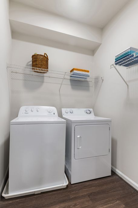 Laundry room at Camden Silo Creek Apartments in Ashburn, VA