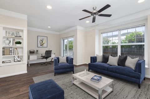 Living room and office space at Camden Silo Creek Apartments in Ashburn, VA