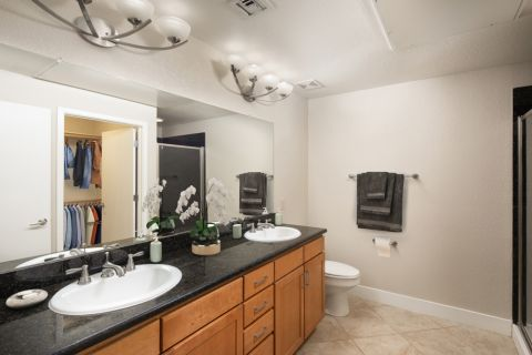 Double Vanity Bathroom at Camden Sotelo Apartments in Tempe, Arizona