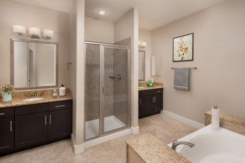 Penthouse Bathroom with separate, stand-alone shower at Camden Sotelo Apartments in Tempe, Arizona