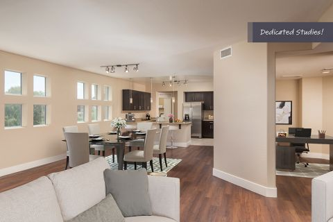 Penthouse Open-Concept Style Living with Den at Camden Sotelo Apartments in Tempe, Arizona