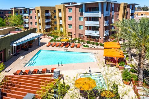 Aerial Photo of Pool at Camden Sotelo Apartments in Tempe, AZ
