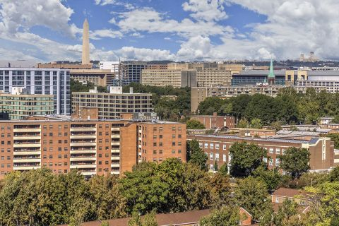 Rooftop View of Washington DC at Camden South Capitol Apartments in Washington, DC