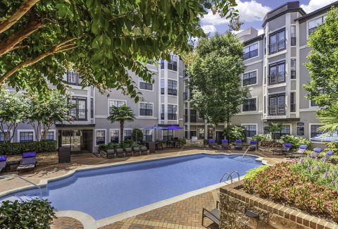 Swimming Pool and Lounge Chairs at Camden South End Apartments in Charlotte, NC