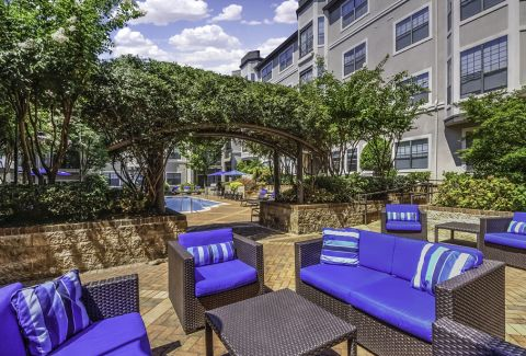 Outdoor lounge area at Camden South End Apartments in Charlotte, NC