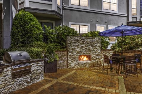 Dusk Grill Area at Camden South End Apartments in Charlotte, NC