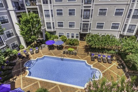 Aerial Shot of Pool at Camden South End Apartments in Charlotte, NC
