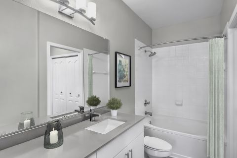 Newly Remodeled Bathroom at Camden South End Apartments in Charlotte, NC