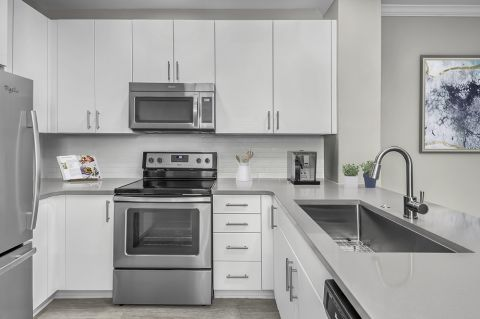 Newly Remodeled Kitchen at Camden South End Apartments in Charlotte, NC