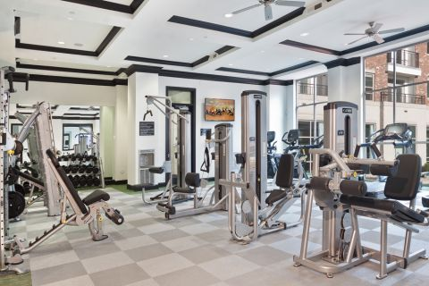 Fitness center at Camden Southline apartments in Charlotte, NC