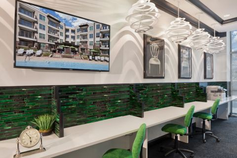 Community workspace at Camden Southline apartments in Charlotte, NC