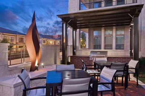 Outdoor lounge at Camden Southline apartments in Charlotte, NC
