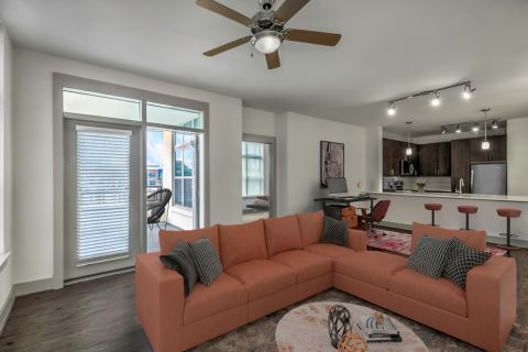 Living room at Camden Southline apartments in Charlotte, NC
