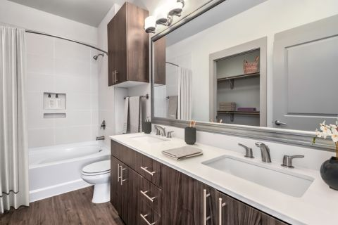 Double Vanity Bathroom at Camden Southline apartments in Charlotte, NC