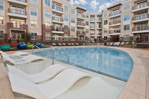 Swimming pool at Camden Southline apartments in Charlotte, NC