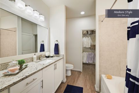 Modern Style Bathroom at Camden Spring Creek Apartments in Spring and The Woodlands, TX