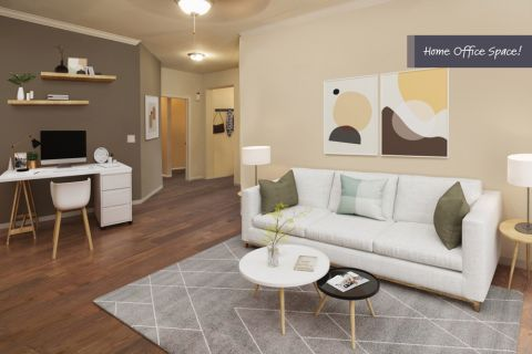 Traditional Style Living Room with Home Office Space at Camden Spring Creek Apartments in Spring and The Woodlands, TX