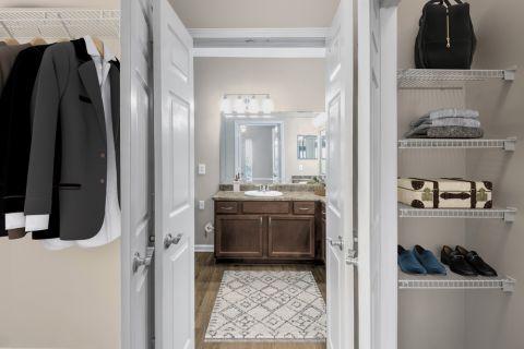 Closet and Bathroom at Camden St. Clair Apartments in Atlanta, GA