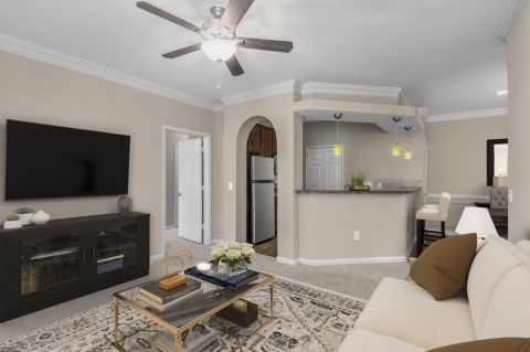 Living room at Camden St. Clair Apartments in Atlanta, GA