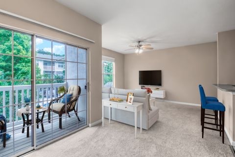 Living Room and Balcony at Camden Stockbridge Apartments in Stockbridge, GA