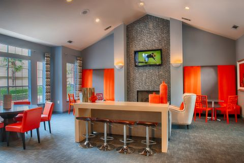 Social Lounge with WiFi and Coffee Bar at Camden Stonebridge Apartments in Houston, TX