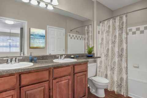 Double Vanity Bathroom at Camden Stonecrest Apartments in Charlotte, NC