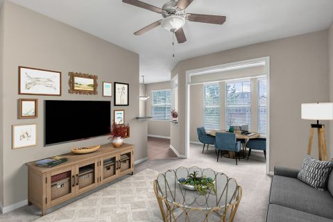 Living Room at Camden Stonecrest Apartments in Charlotte, NC