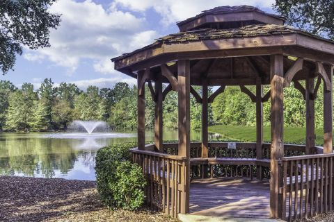 Gazebo and Picnic Area Overlooking Catch and Release Pond at Camden Stonecrest Apartments in Charlotte, NC