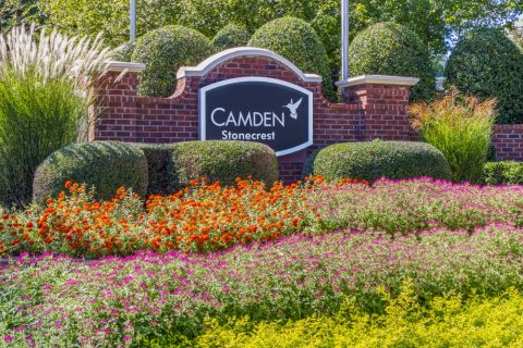 Monument Sign at Camden Stonecrest Apartments in Charlotte, NC