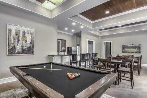 Resident Lounge with Billiards Table at Camden Stonecrest Apartments in Charlotte, NC