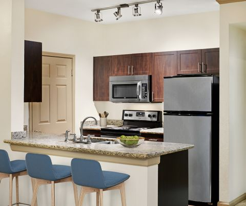 Kitchen with stainless steel appliances at Camden Stoneleigh Apartments in Austin, TX