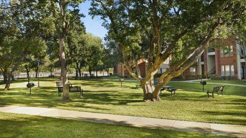 Manicured Walking Trail at Camden Sugar Grove Apartments in Stafford, TX