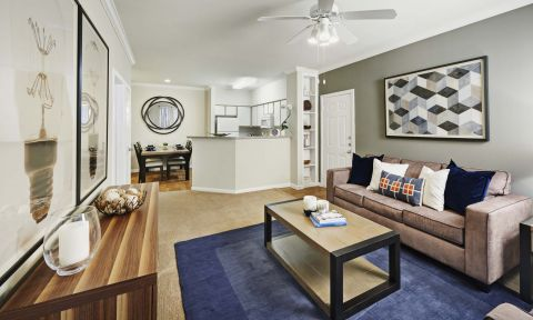 Open Concept Living and Dining at Camden Sugar Grove Apartments in Stafford, TX