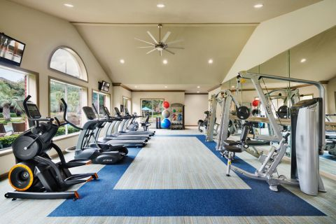 Fitness Center with cardio machines at Camden Sugar Grove Apartments in Stafford, TX
