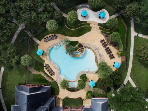 Bird's Eye View of the Swimming Pool at Camden Sugar Grove Apartments in Stafford, TX