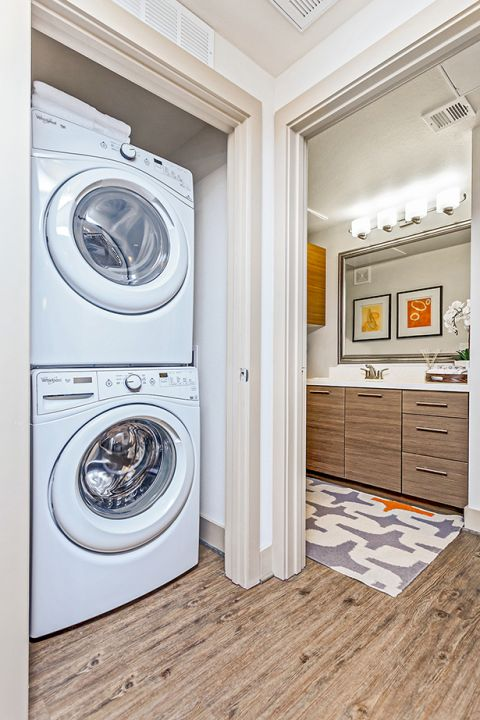 Washer and dryer in One Bedroom Floor Plan at Camden Tempe Apartments in Tempe, AZ