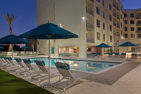 Pool at Dusk at Camden Thornton Park Apartments in Orlando, FL