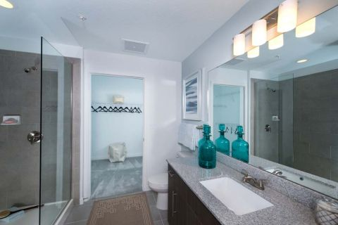 Bathroom with Walk-In Shower in Two Bedroom Apartment Home at Camden Thornton Park Apartments in Orlando, FL