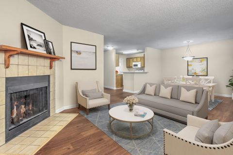 Living Room with Fireplace at Camden Touchstone Apartments in Charlotte, NC
