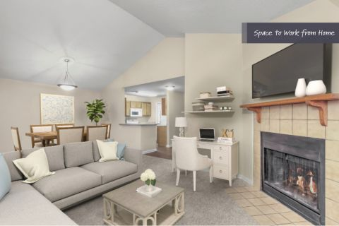 Living room with space to work from home at Camden Touchstone Apartments in Charlotte, NC