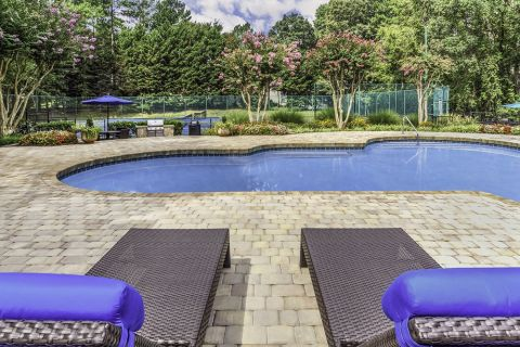 Lounge Seating at the Swimming Pool at Camden Touchstone Apartments in Charlotte, NC