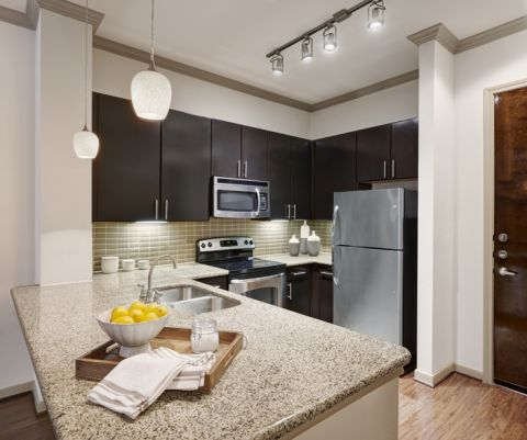 Kitchen with Stainless Steel Appliances at Camden Travis Street Apartments in Houston, TX
