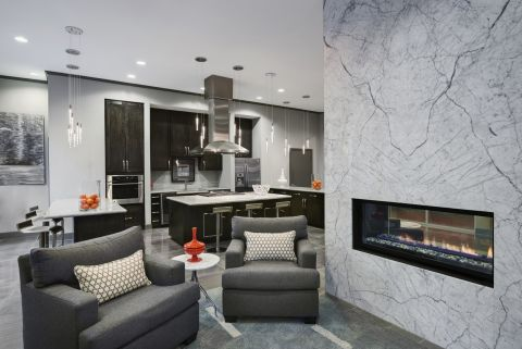 Social Lounge with Entertaining Kitchen at Camden Travis Street Apartments in Houston, TX