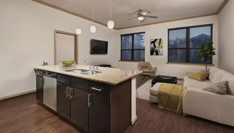 Kitchen with Stainless Steel Appliances in Open Concept Floor Plan at Camden Travis Street Apartments in Houston, TX