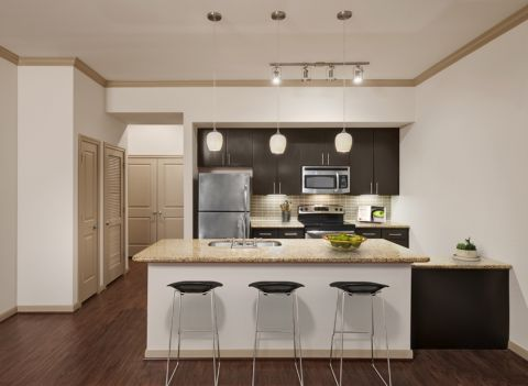 Kitchen with Island Seating at Camden Travis Street Apartments in Houston, TX