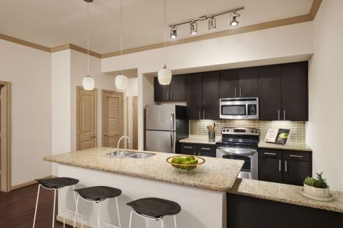 Kitchen with Granite Countertops at Camden Travis Street Apartments in Houston, TX