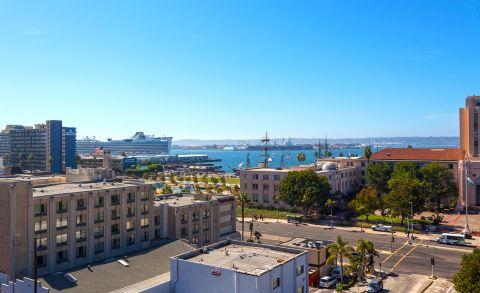 View of Marina and Bay at Camden Tuscany Apartments in San Diego, CA