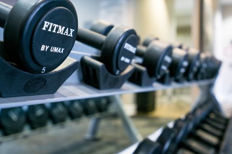 Free Weights in New Fitness Center at Camden Tuscany Apartments in San Diego, CA