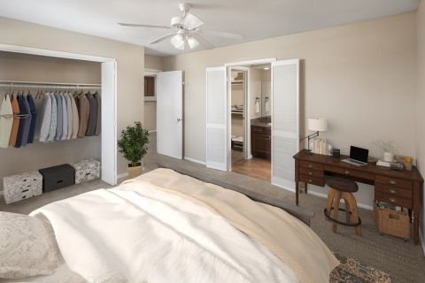 Bedroom with Desk at Camden Valley Park Apartments in Irving, TX