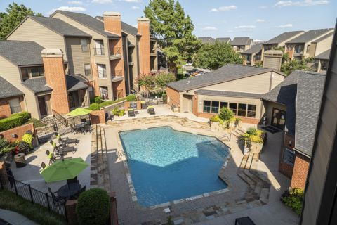 Pool view at Camden Valley Park Apartments in Irving, TX